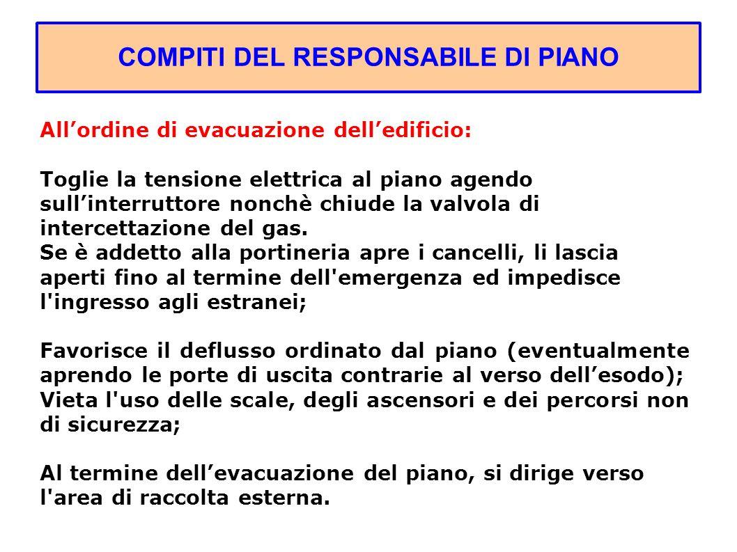 COMPITI DEL RESPONSABILE DI PIANO