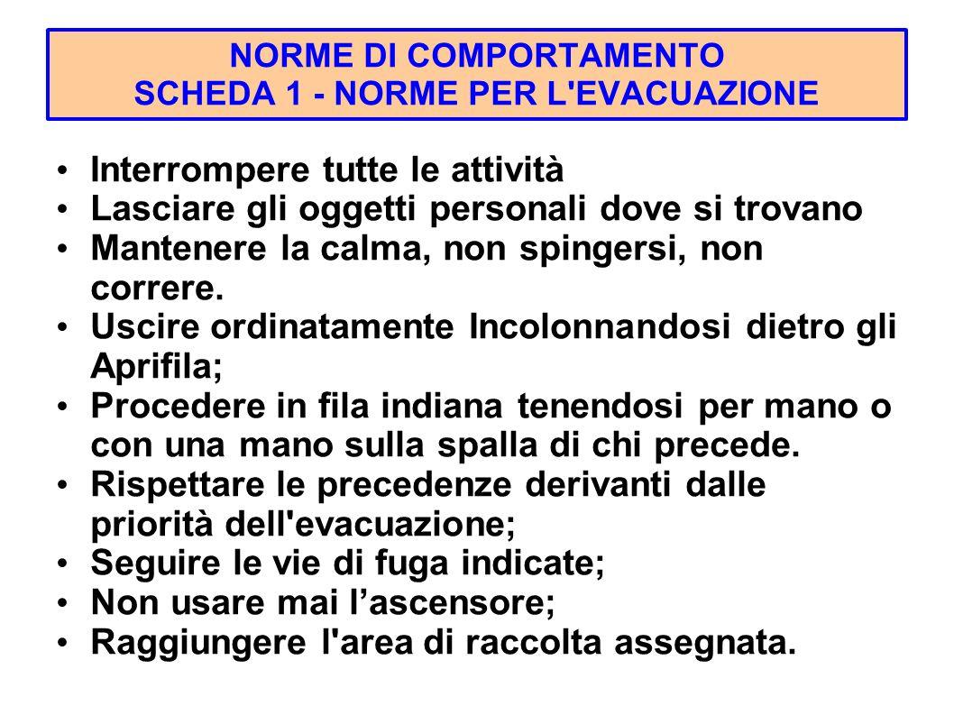 NORME DI COMPORTAMENTO SCHEDA 1 - NORME PER L EVACUAZIONE