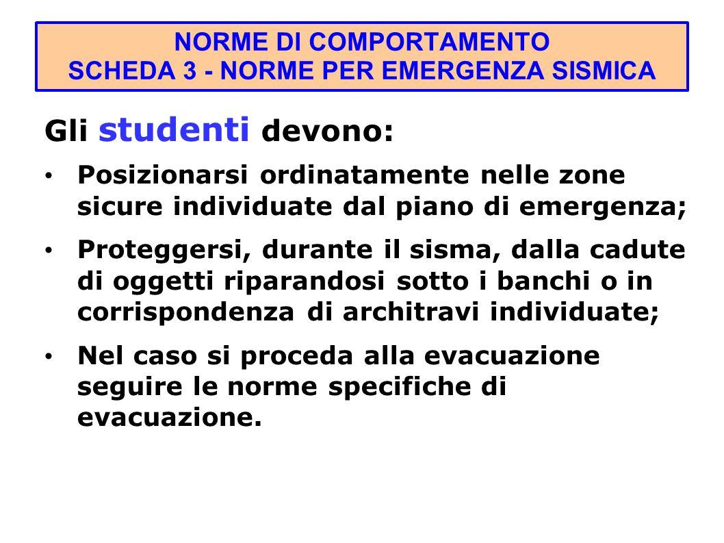 NORME DI COMPORTAMENTO SCHEDA 3 - NORME PER EMERGENZA SISMICA