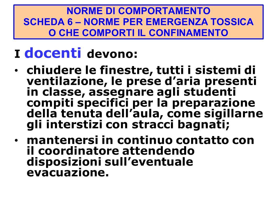 NORME DI COMPORTAMENTO SCHEDA 6 – NORME PER EMERGENZA TOSSICA O CHE COMPORTI IL CONFINAMENTO