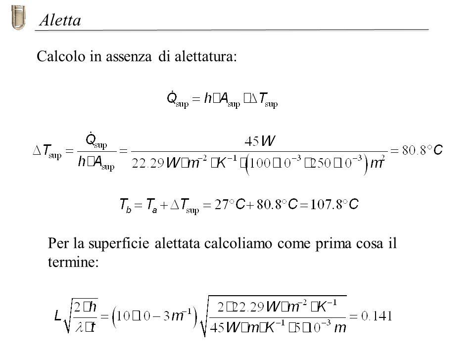 Aletta Calcolo in assenza di alettatura: