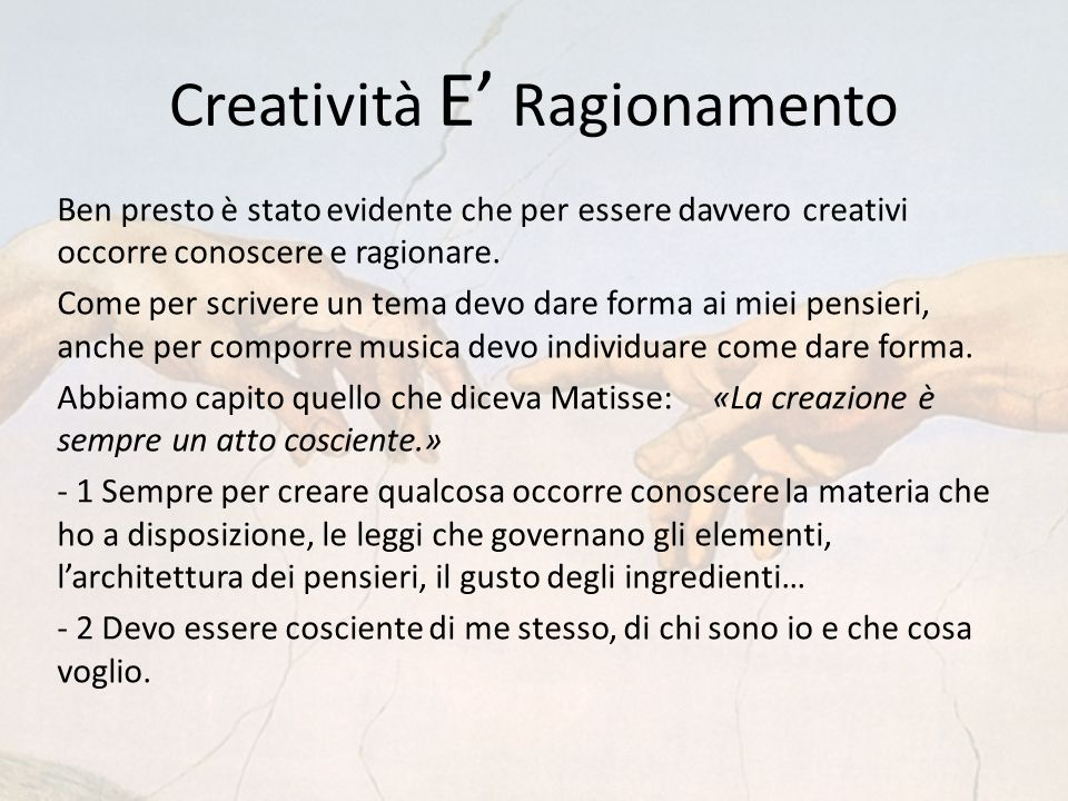 Creatività E' Ragionamento