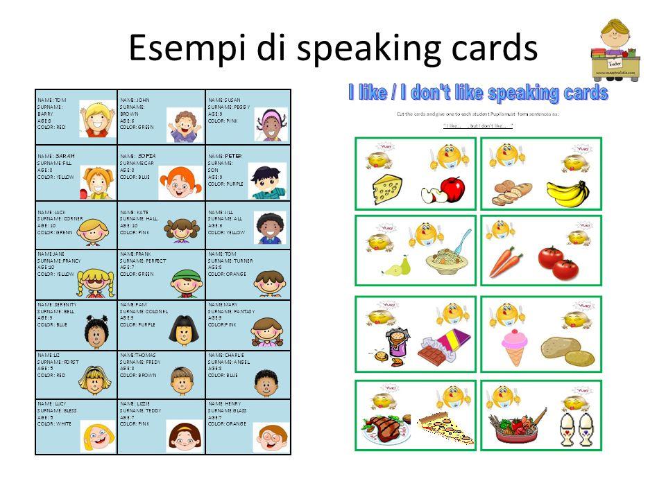 Esempi di speaking cards