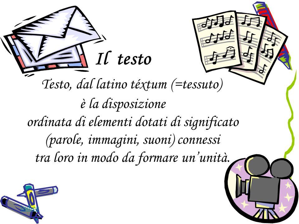 Il testo Testo, dal latino téxtum (=tessuto) è la disposizione ordinata di elementi dotati di significato (parole, immagini, suoni) connessi tra loro in modo da formare un'unità.