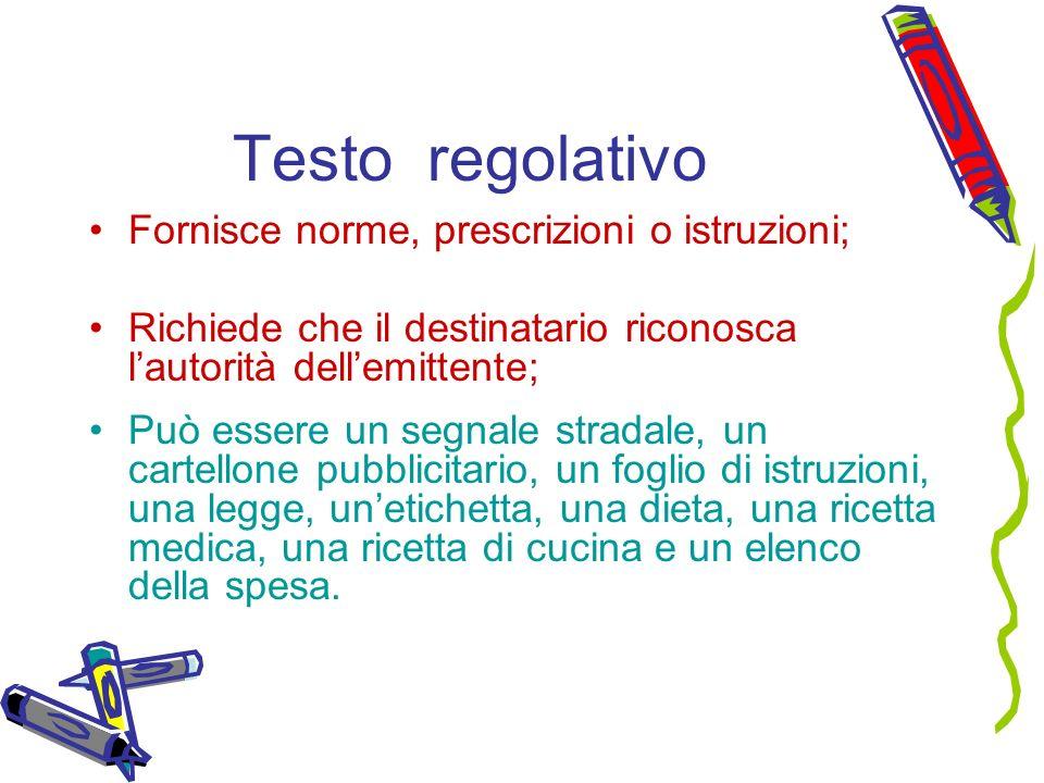 Testo regolativo Fornisce norme, prescrizioni o istruzioni;