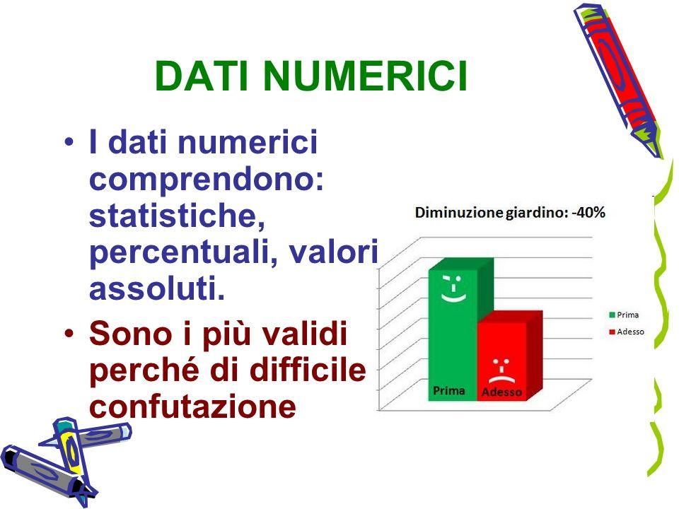 DATI NUMERICI I dati numerici comprendono: statistiche, percentuali, valori assoluti.