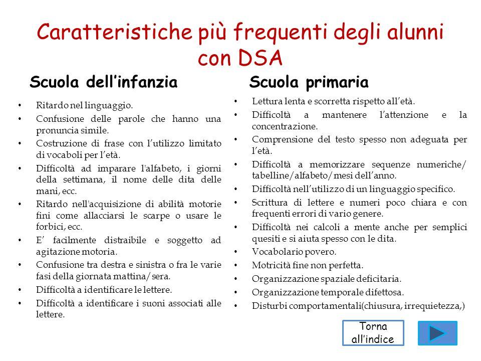Caratteristiche più frequenti degli alunni con DSA