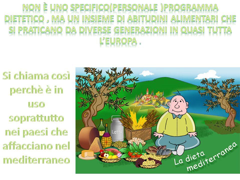 Non è uno specifico(personale )programma dietetico , ma un insieme di abitudini alimentari che si praticano da diverse generazioni in quasi tutta l'europa .