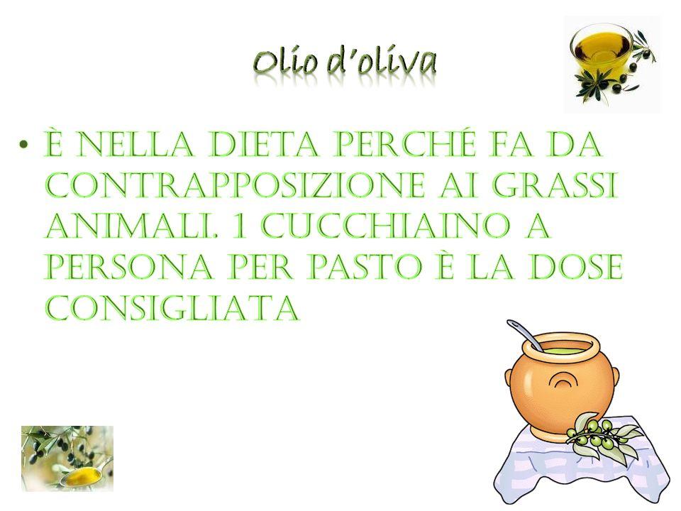 Olio d'oliva È nella dieta perché fa da contrapposizione ai grassi animali.