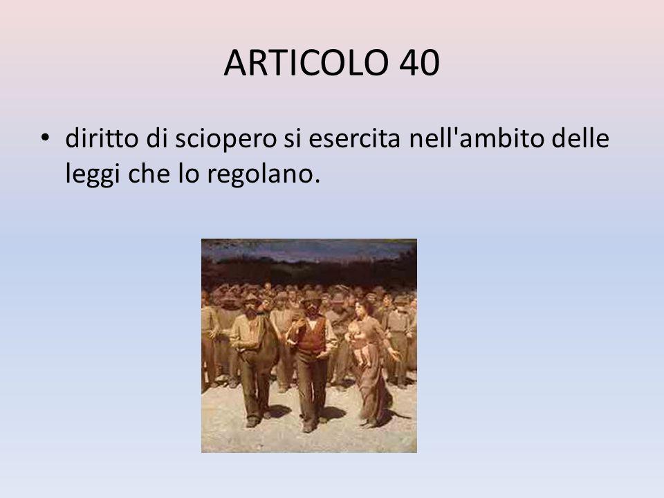 ARTICOLO 40 diritto di sciopero si esercita nell ambito delle leggi che lo regolano.