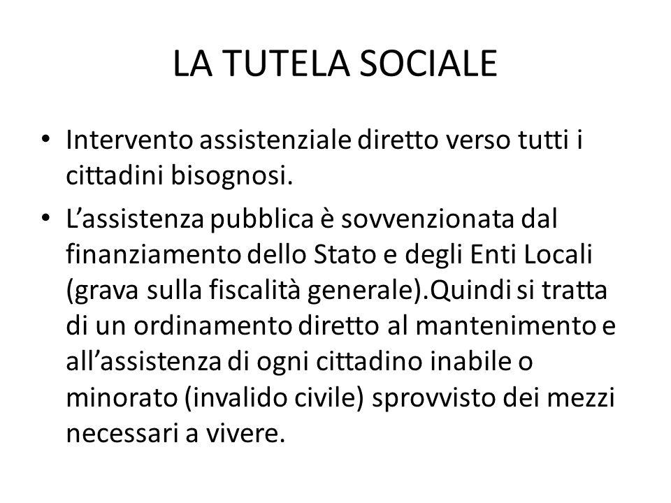 LA TUTELA SOCIALE Intervento assistenziale diretto verso tutti i cittadini bisognosi.