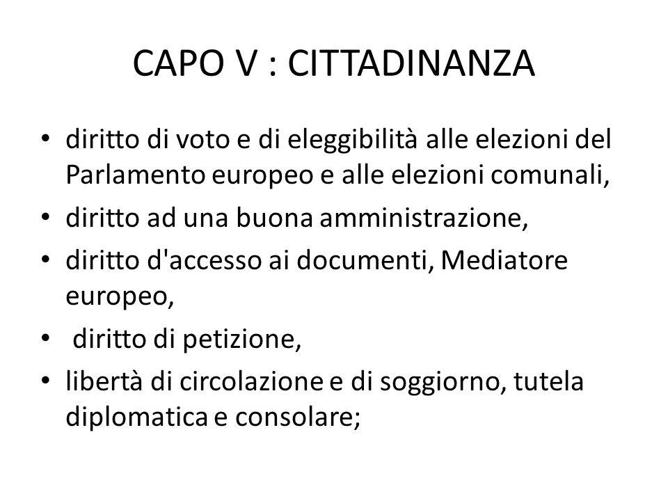 CAPO V : CITTADINANZAdiritto di voto e di eleggibilità alle elezioni del Parlamento europeo e alle elezioni comunali,