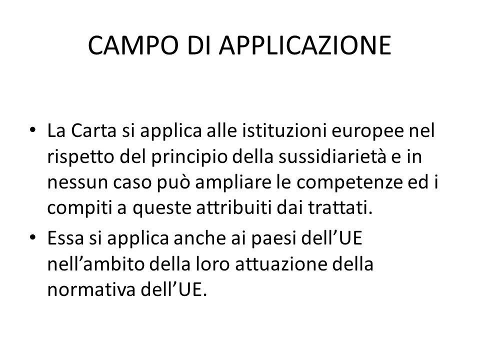 CAMPO DI APPLICAZIONE