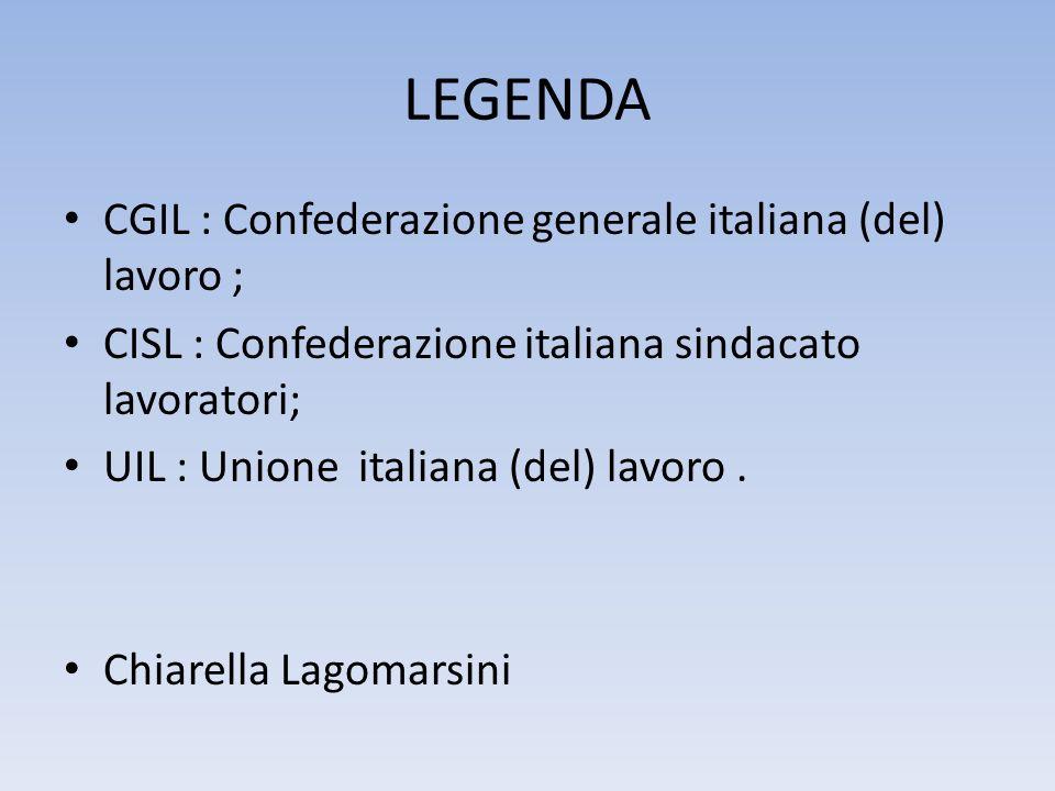 LEGENDA CGIL : Confederazione generale italiana (del) lavoro ;