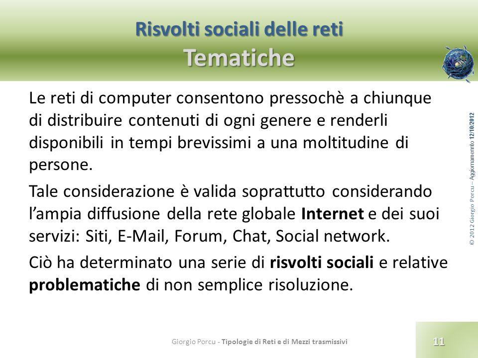 Risvolti sociali delle reti Tematiche
