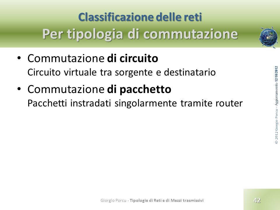 Classificazione delle reti Per tipologia di commutazione