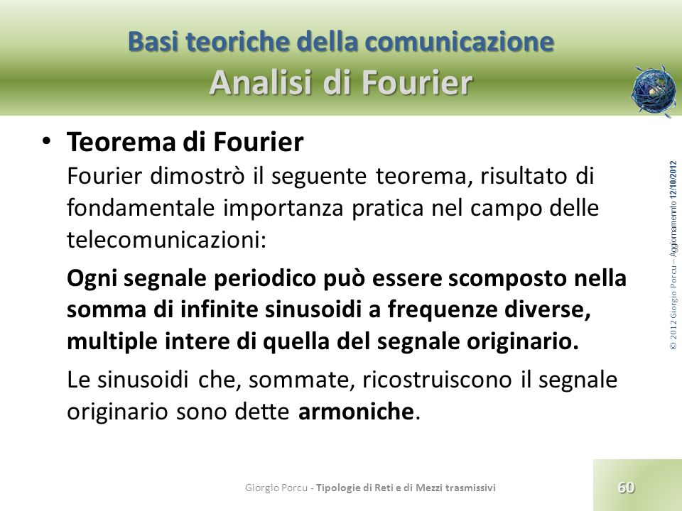 Basi teoriche della comunicazione Analisi di Fourier