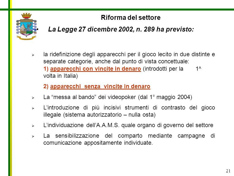 La Legge 27 dicembre 2002, n. 289 ha previsto: