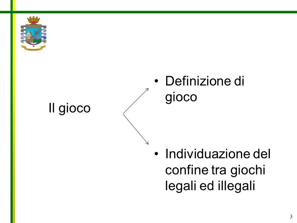 Definizione di gioco Individuazione del confine tra giochi legali ed illegali Il gioco