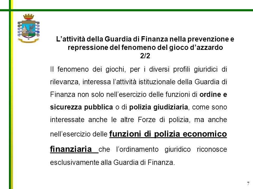 L'attività della Guardia di Finanza nella prevenzione e repressione del fenomeno del gioco d'azzardo