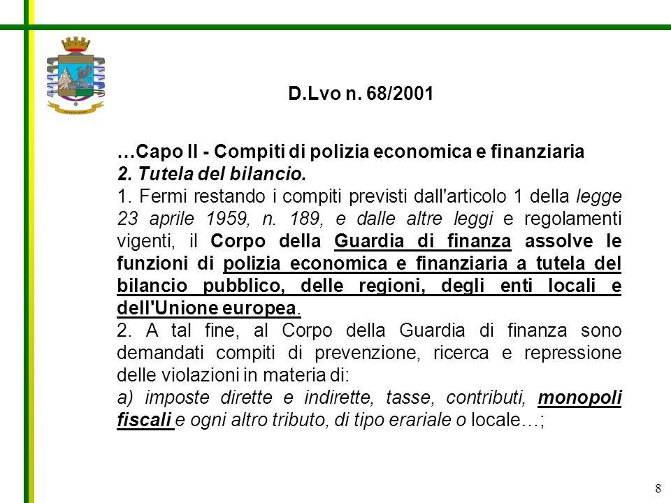D.Lvo n. 68/2001 …Capo II - Compiti di polizia economica e finanziaria. 2. Tutela del bilancio.
