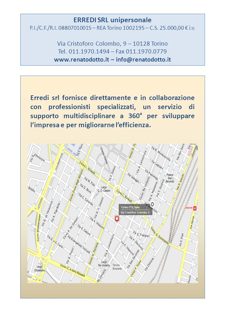 ERREDI SRL unipersonale www.renatodotto.it – info@renatodotto.it