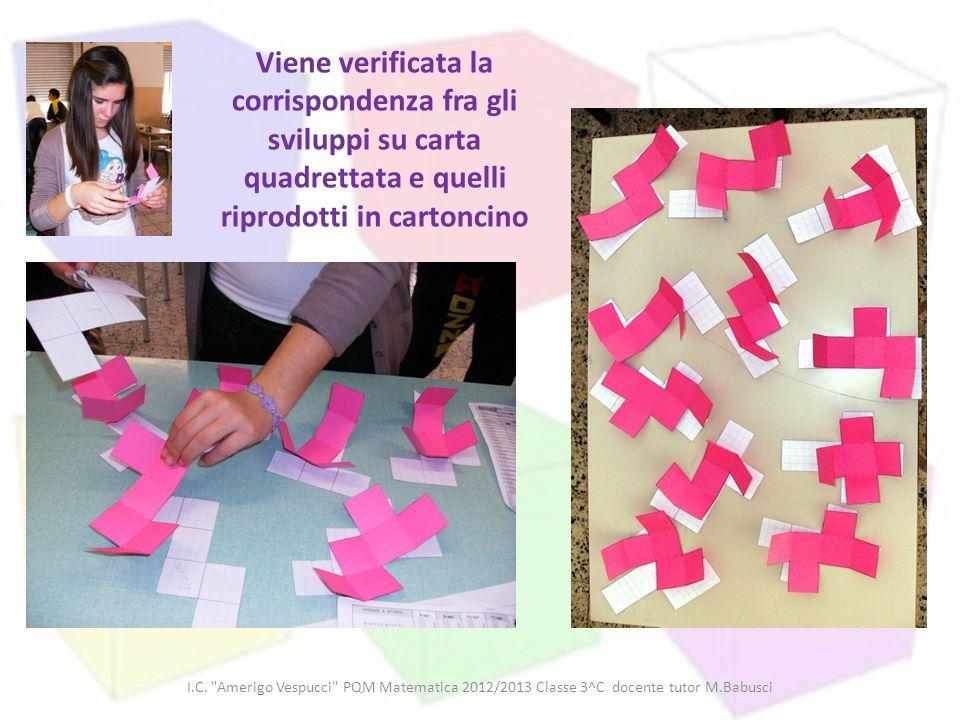 Viene verificata la corrispondenza fra gli sviluppi su carta quadrettata e quelli riprodotti in cartoncino