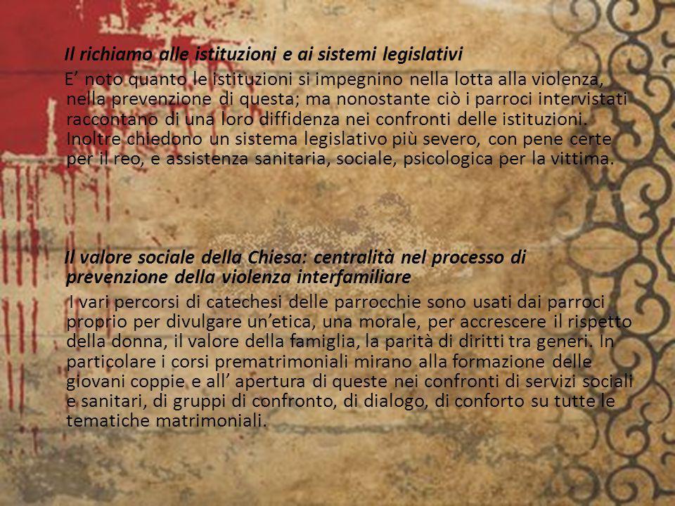 Il richiamo alle istituzioni e ai sistemi legislativi