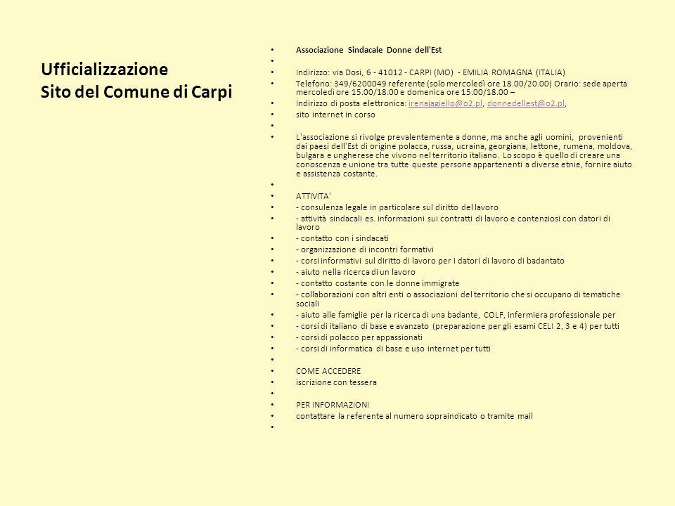 Ufficializzazione Sito del Comune di Carpi