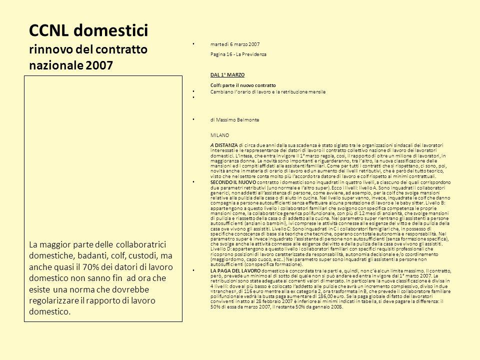 CCNL domestici rinnovo del contratto nazionale 2007