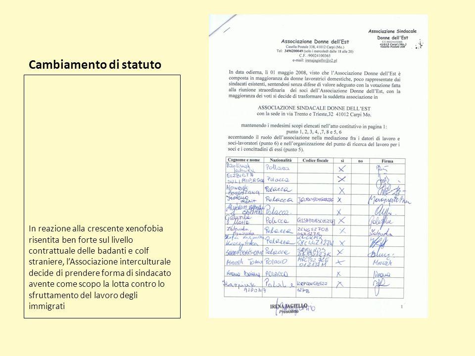 Cambiamento di statuto