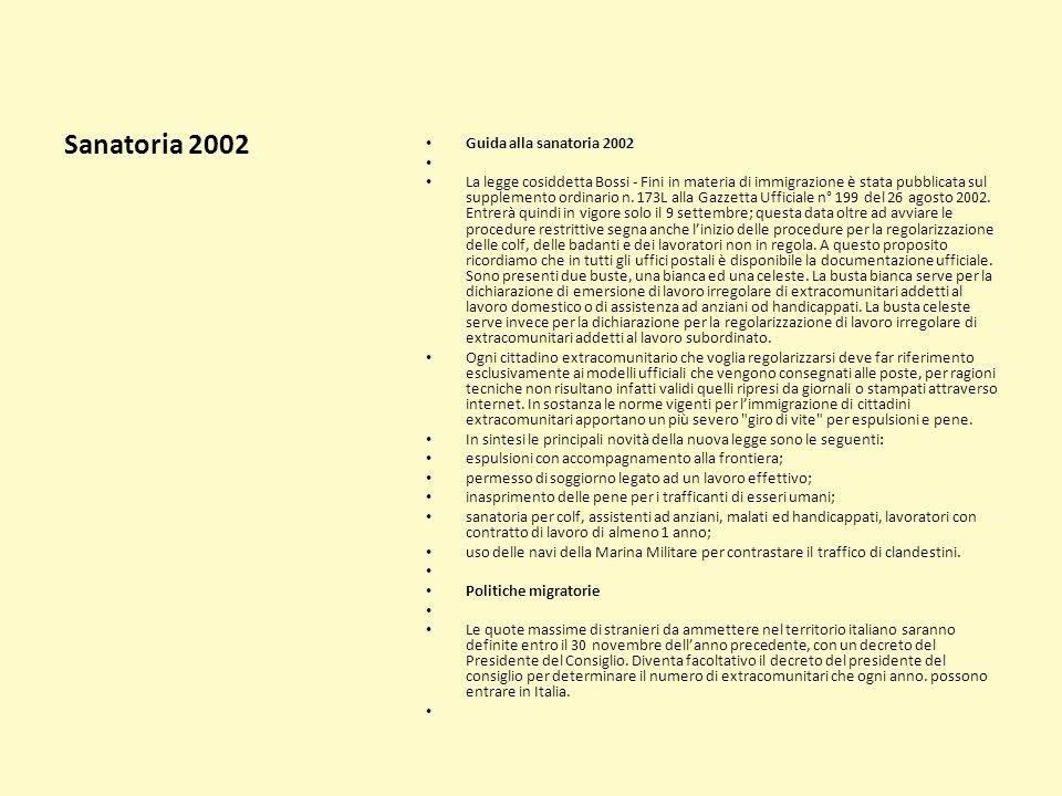 Sanatoria 2002 Guida alla sanatoria 2002