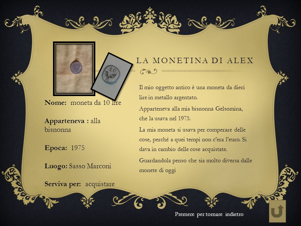 La monetina di Alex Nome: moneta da 10 lire