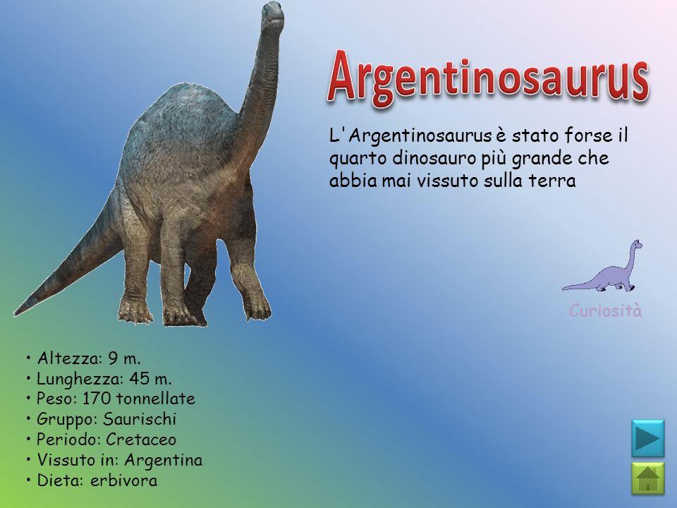 Argentinosaurus L Argentinosaurus è stato forse il quarto dinosauro più grande che abbia mai vissuto sulla terra.