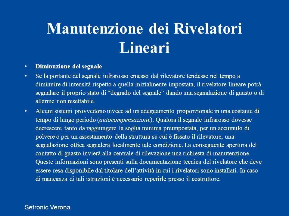 Manutenzione dei Rivelatori Lineari