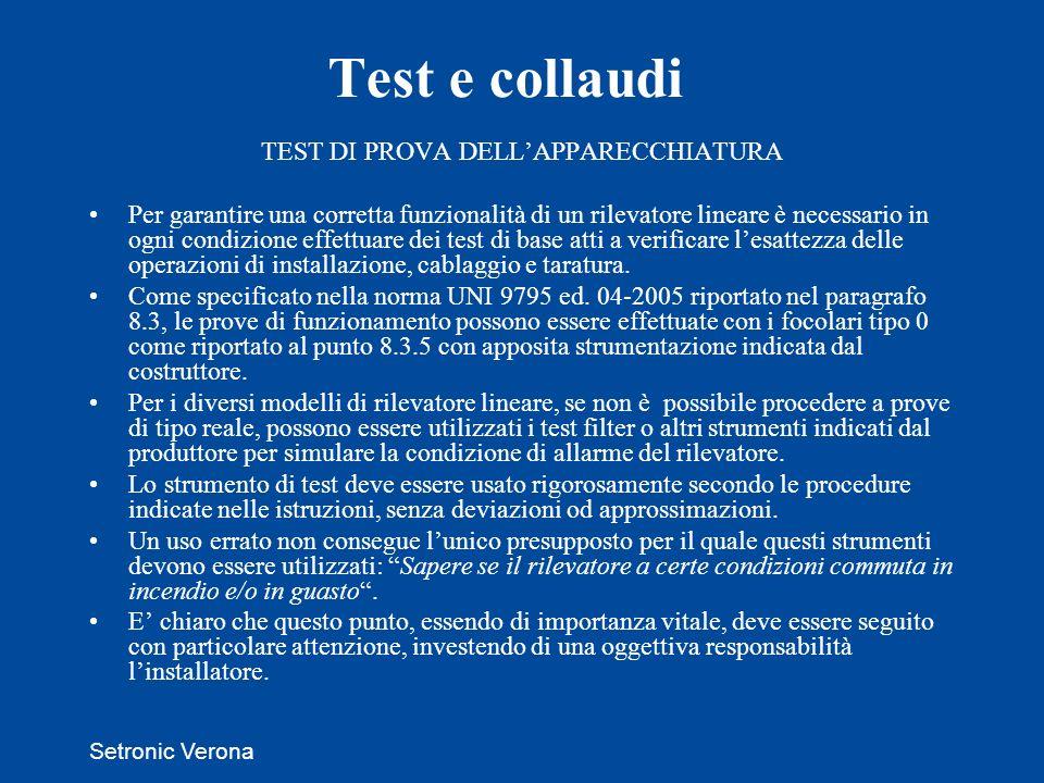 TEST DI PROVA DELL'APPARECCHIATURA