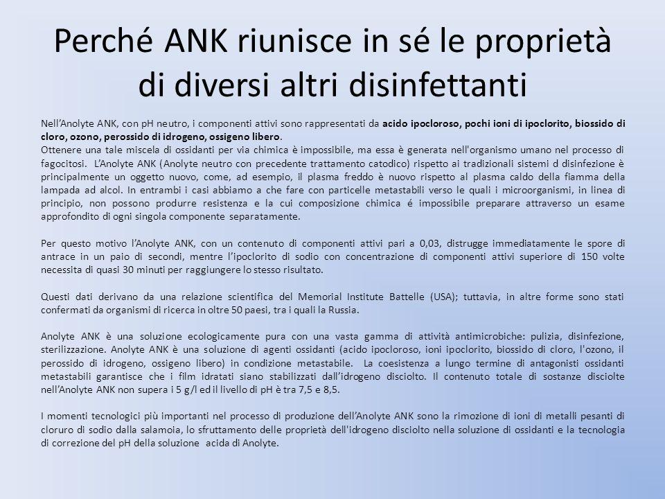 Perché ANK riunisce in sé le proprietà di diversi altri disinfettanti