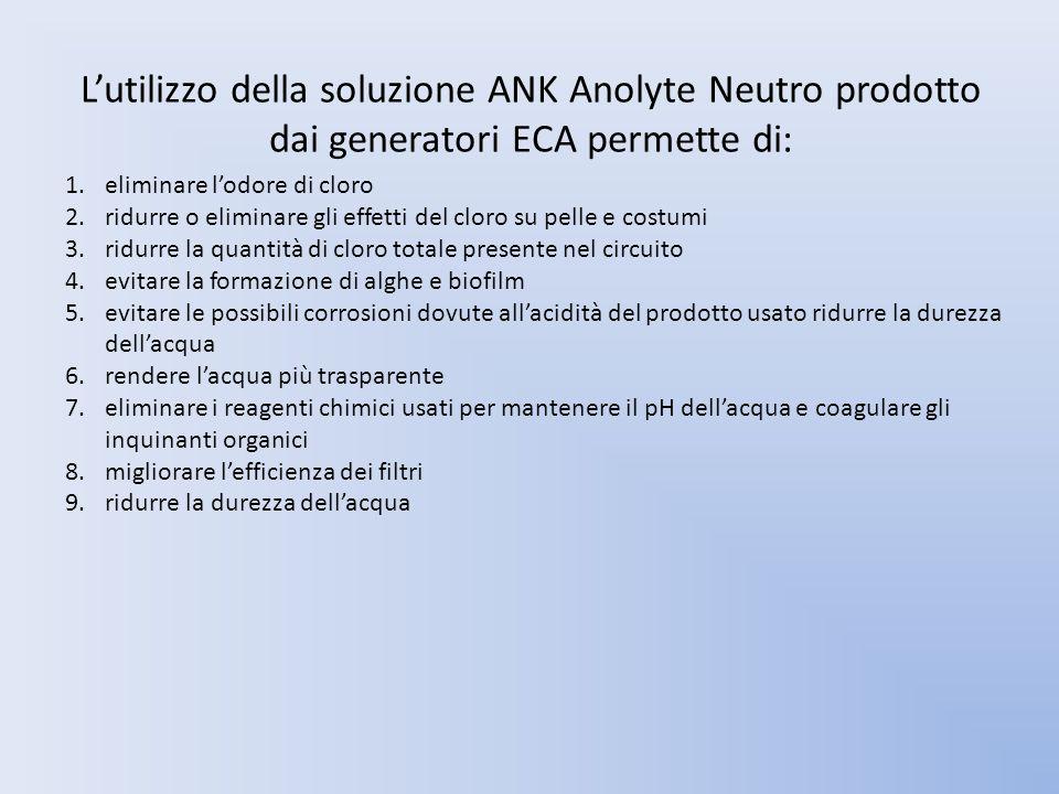 L'utilizzo della soluzione ANK Anolyte Neutro prodotto dai generatori ECA permette di: