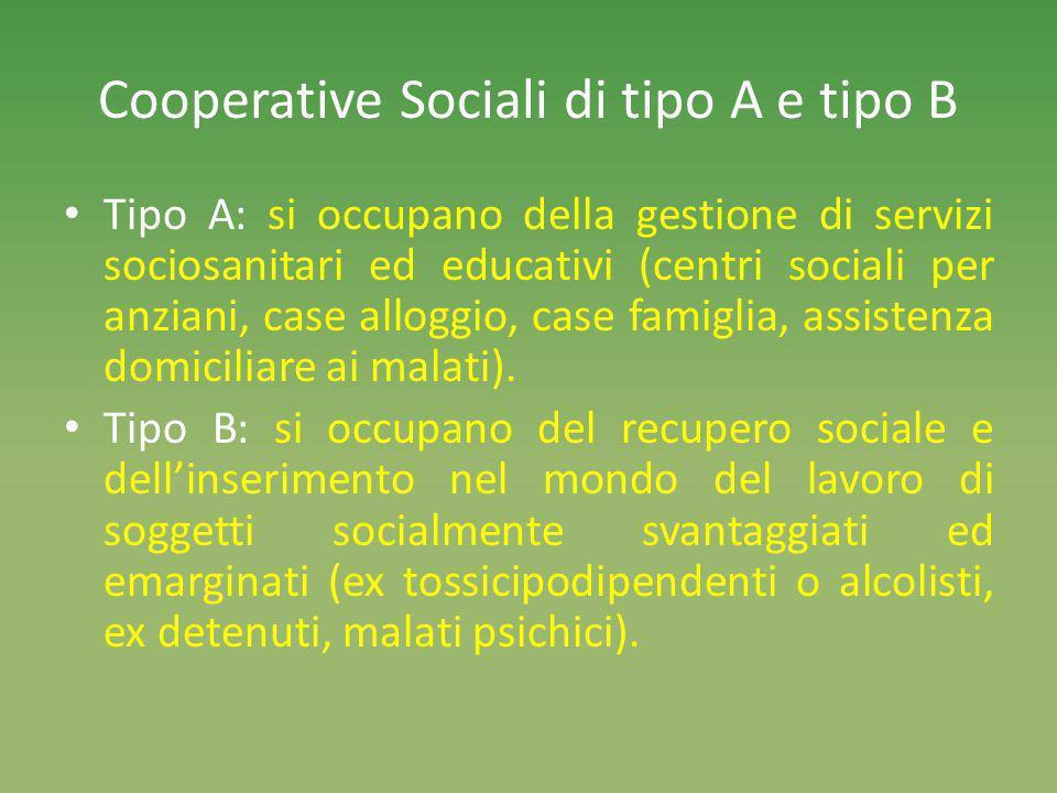 Cooperative Sociali di tipo A e tipo B