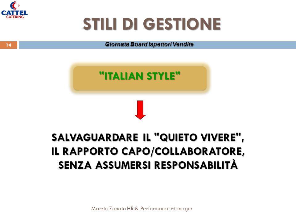 STILI DI GESTIONE ITALIAN STYLE SALVAGUARDARE IL QUIETO VIVERE ,