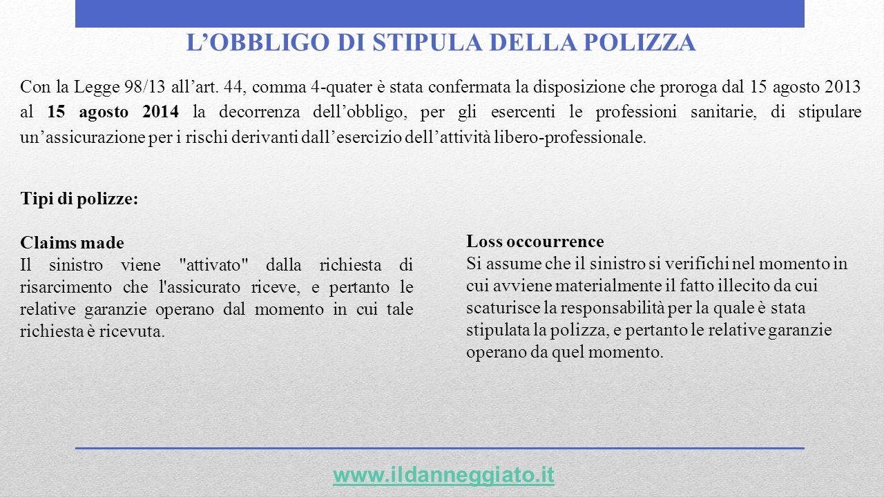 L'OBBLIGO DI STIPULA DELLA POLIZZA