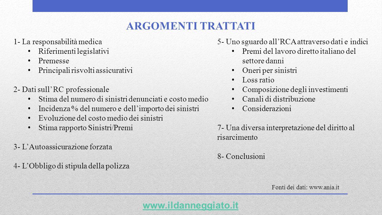 ARGOMENTI TRATTATI www.ildanneggiato.it 1- La responsabilità medica