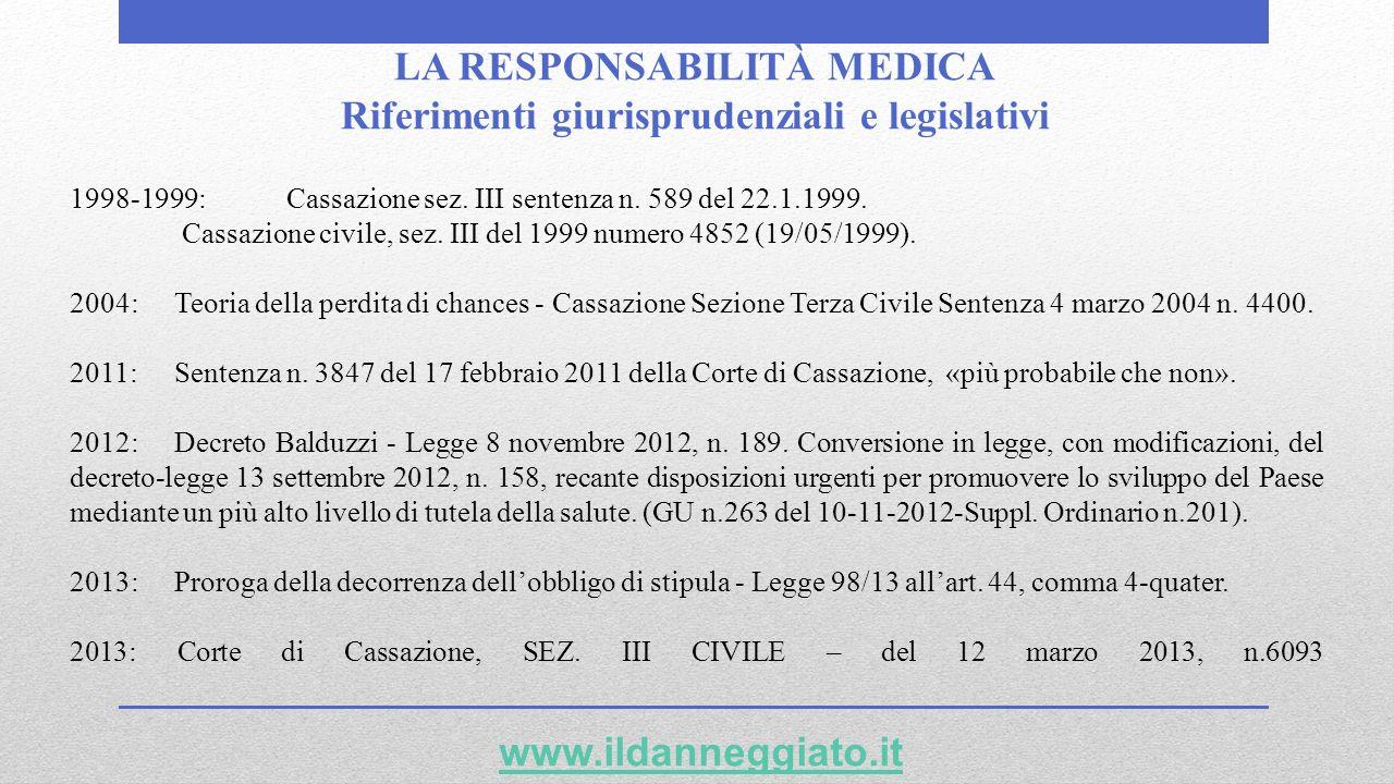 LA RESPONSABILITÀ MEDICA Riferimenti giurisprudenziali e legislativi