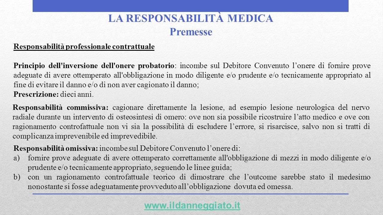 LA RESPONSABILITÀ MEDICA