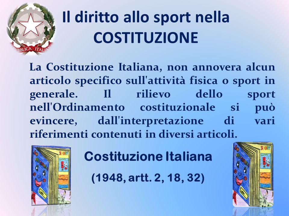 Il diritto allo sport nella COSTITUZIONE