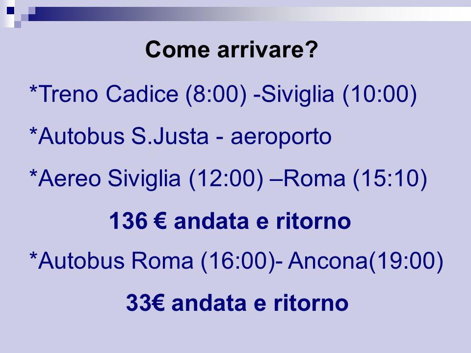 Come arrivare *Treno Cadice (8:00) -Siviglia (10:00) *Autobus S.Justa - aeroporto. *Aereo Siviglia (12:00) –Roma (15:10)