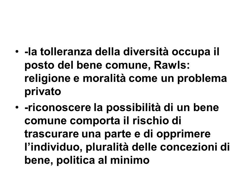 -la tolleranza della diversità occupa il posto del bene comune, Rawls: religione e moralità come un problema privato