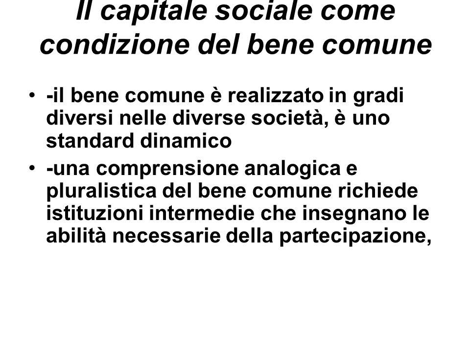Il capitale sociale come condizione del bene comune