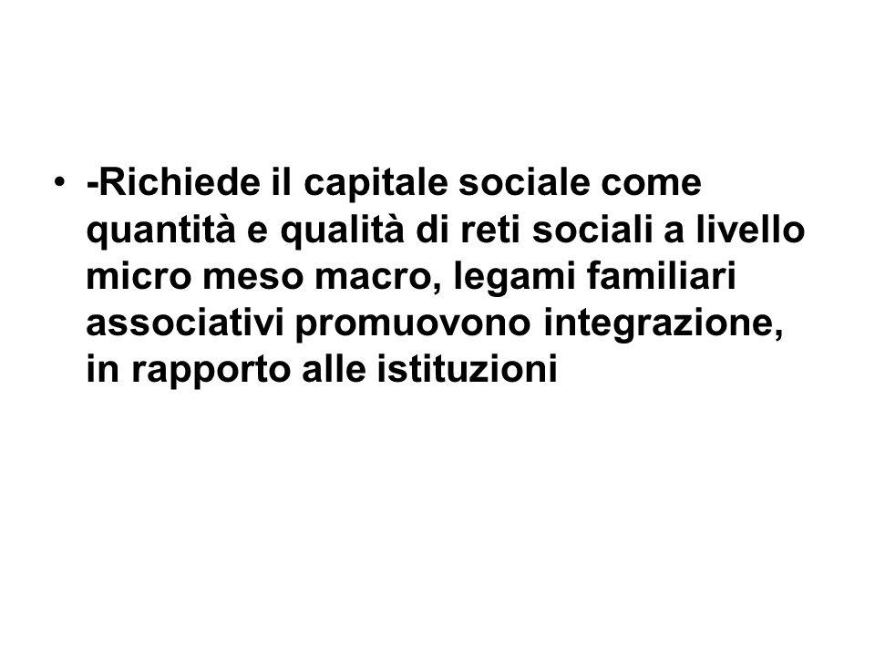 -Richiede il capitale sociale come quantità e qualità di reti sociali a livello micro meso macro, legami familiari associativi promuovono integrazione, in rapporto alle istituzioni