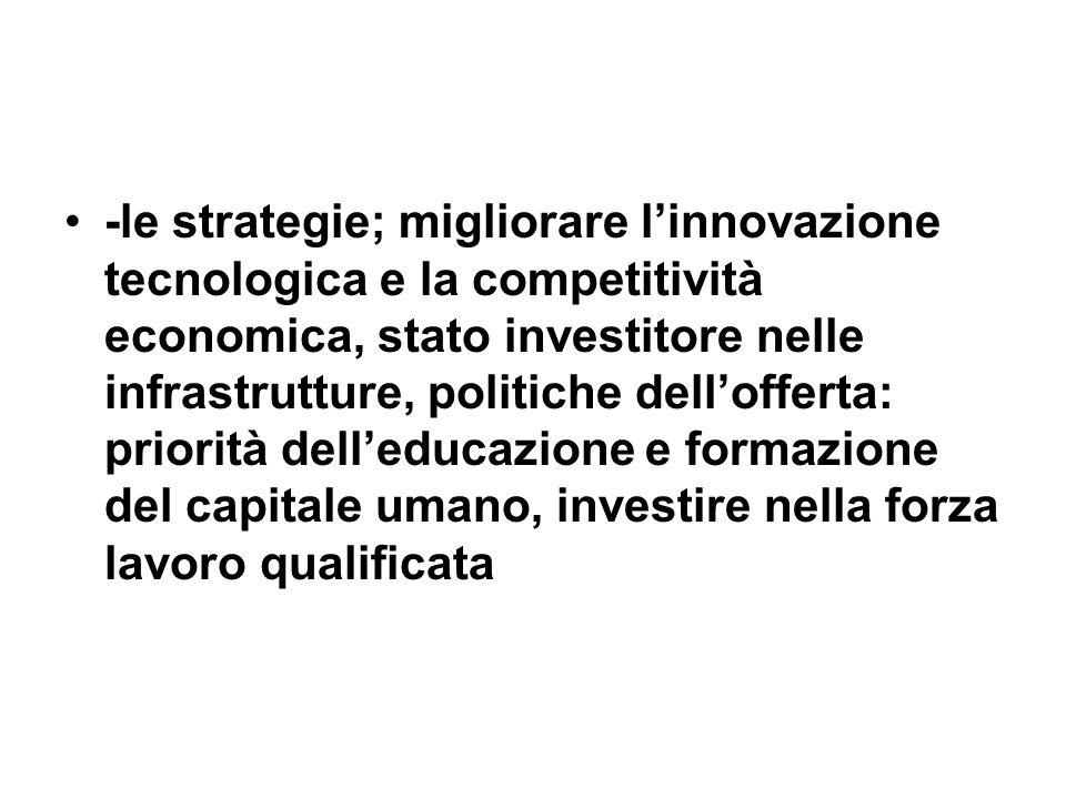 -le strategie; migliorare l'innovazione tecnologica e la competitività economica, stato investitore nelle infrastrutture, politiche dell'offerta: priorità dell'educazione e formazione del capitale umano, investire nella forza lavoro qualificata
